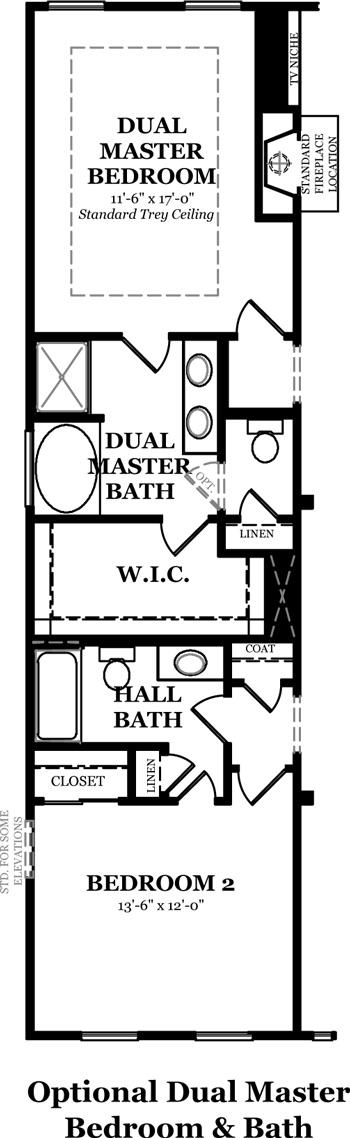 Floorplan Dover At Whitney Park Dover Optional Dual Master Bedroom