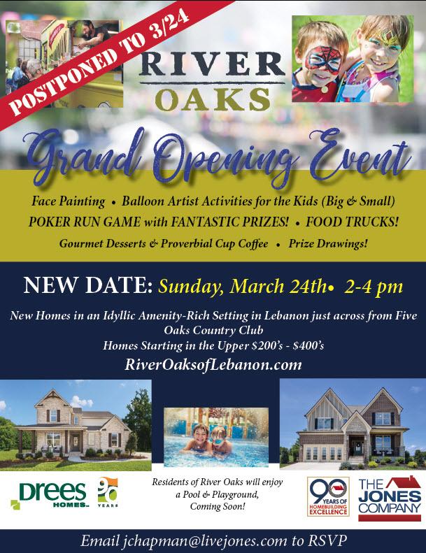 River Oaks Grand Open- rescheduled