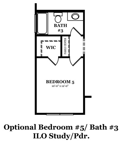 Mitchell SH Optional 5th Bedroom and 3rd Bath In Lieu of Study